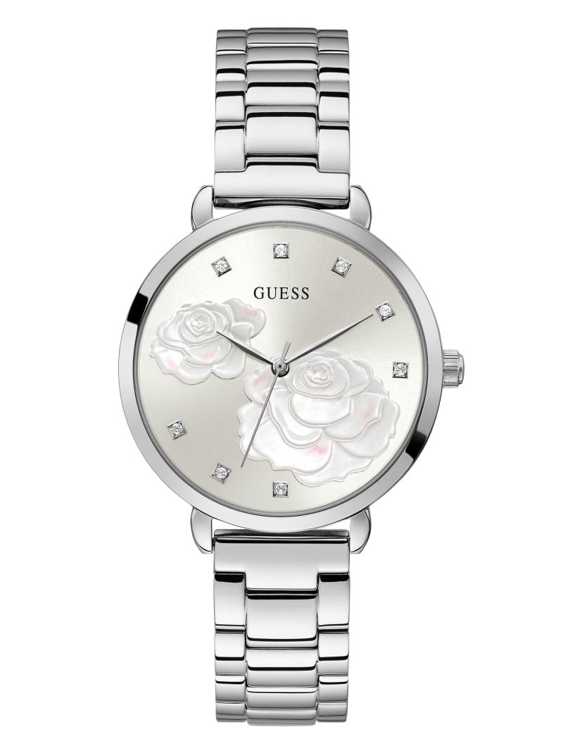 Silver-Tone Rose Crystal Analog Watch