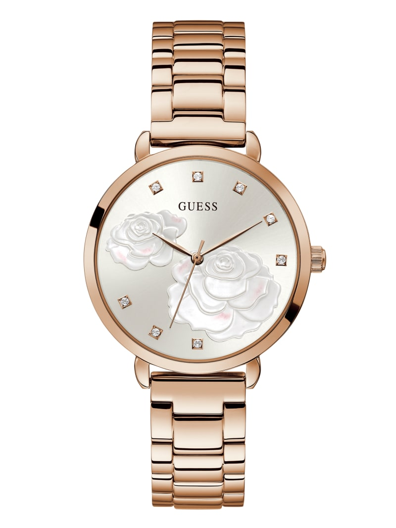Rose Gold-Tone Floral Crystal Analog Watch