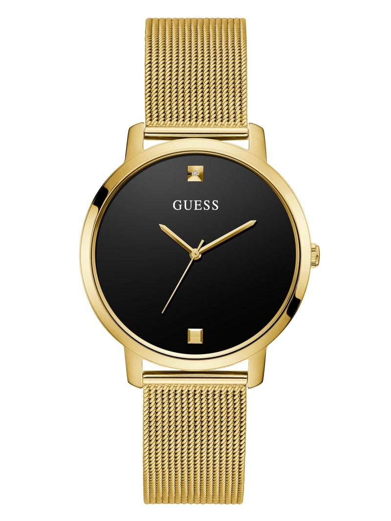 Gold-Tone And Black Diamond Analog Watch