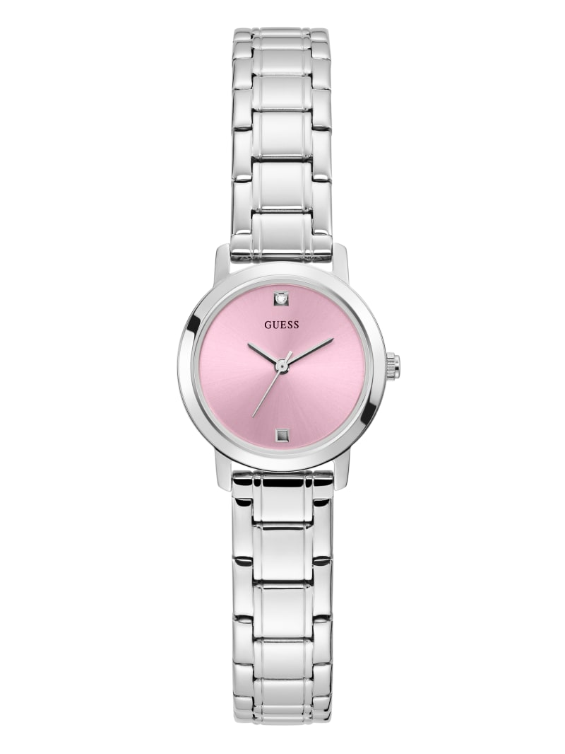 Silver-Tone And Pink Diamond Analog Watch