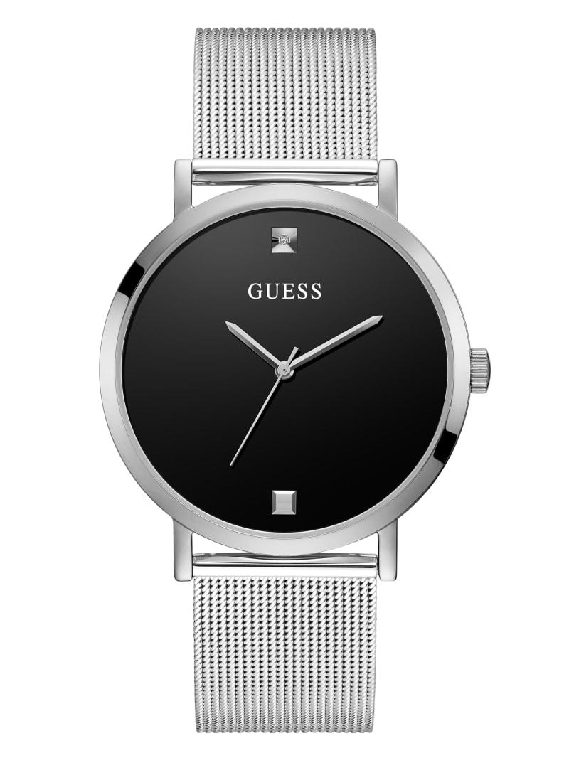 Silver-Tone Mesh Diamond Analog Watch