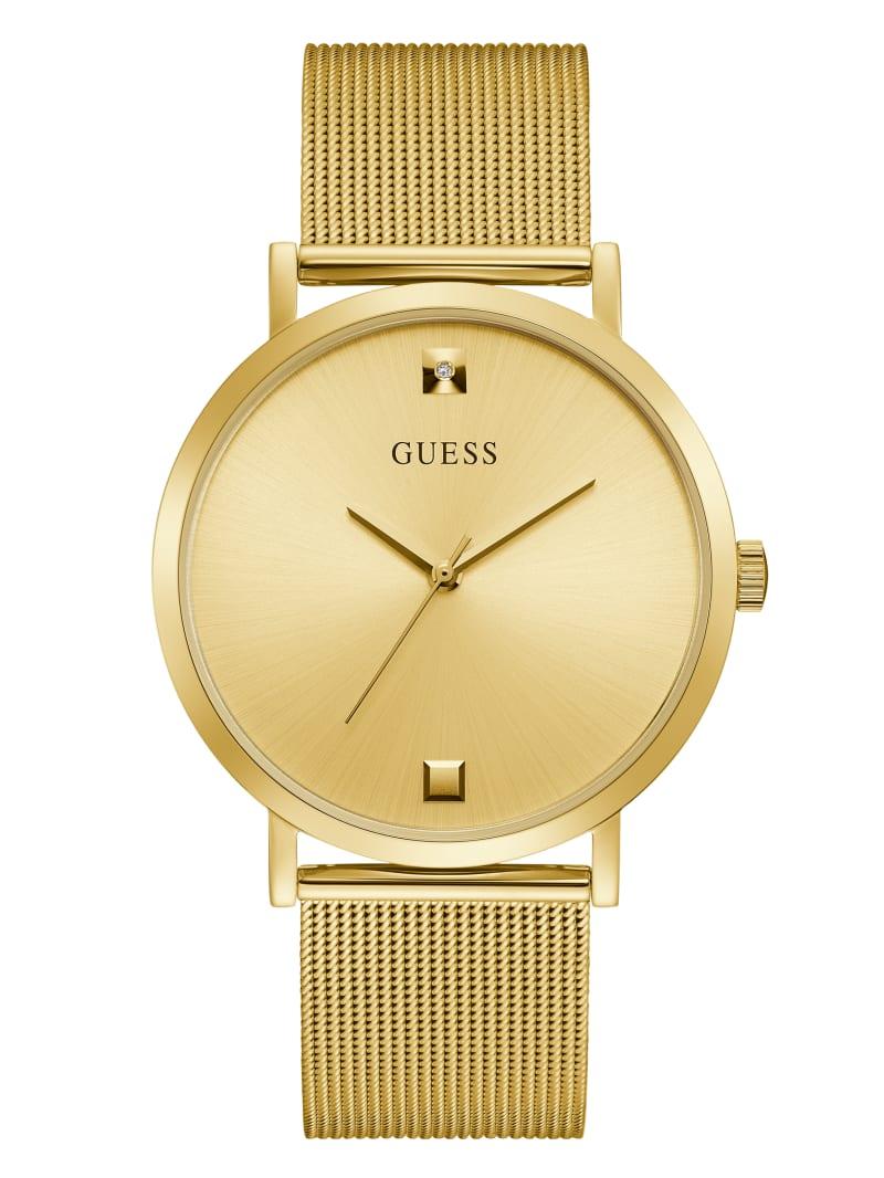 Gold-Tone Mesh Diamond Analog Watch