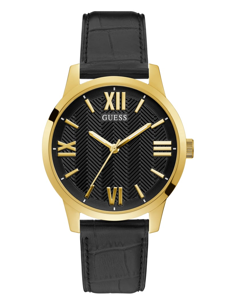 Gold-Tone Croc Strap Analog Watch