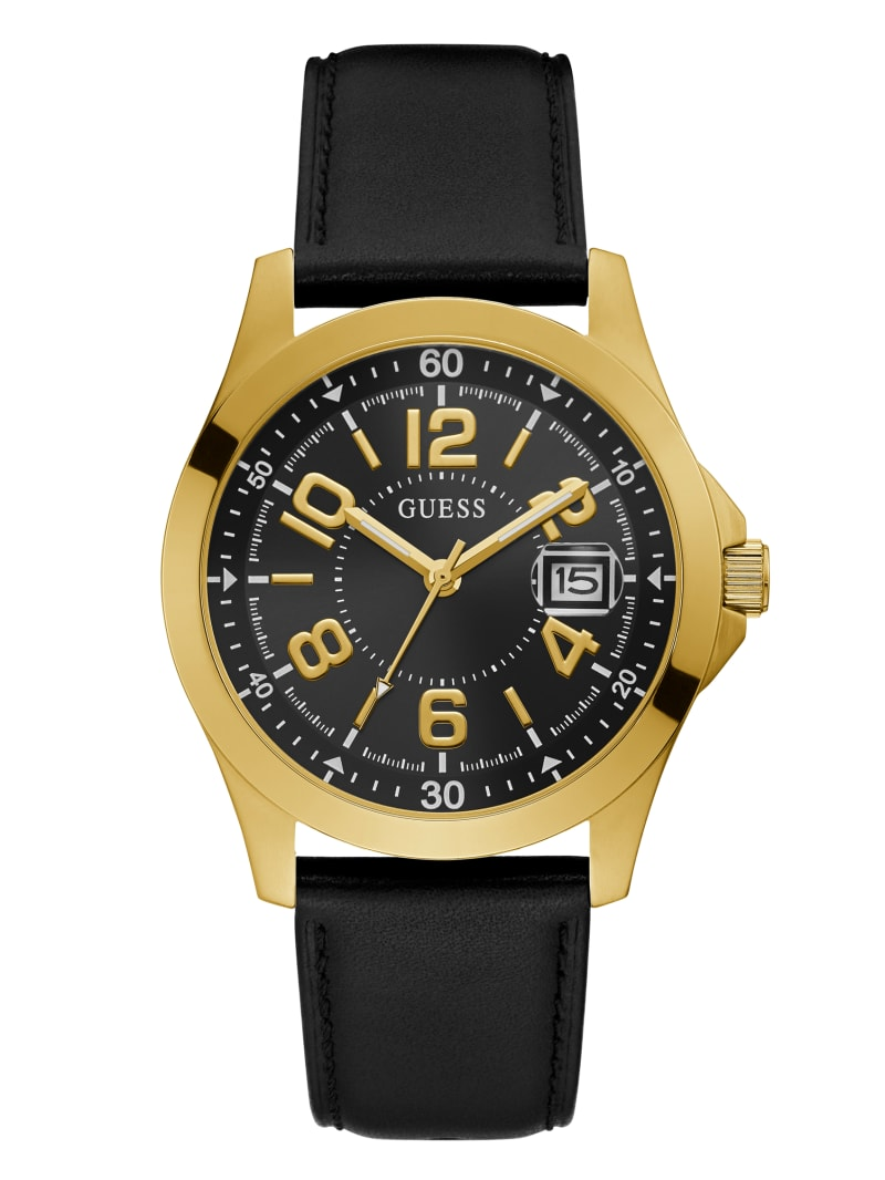 Gold-Tone And Black Leather Strap Analog Watch