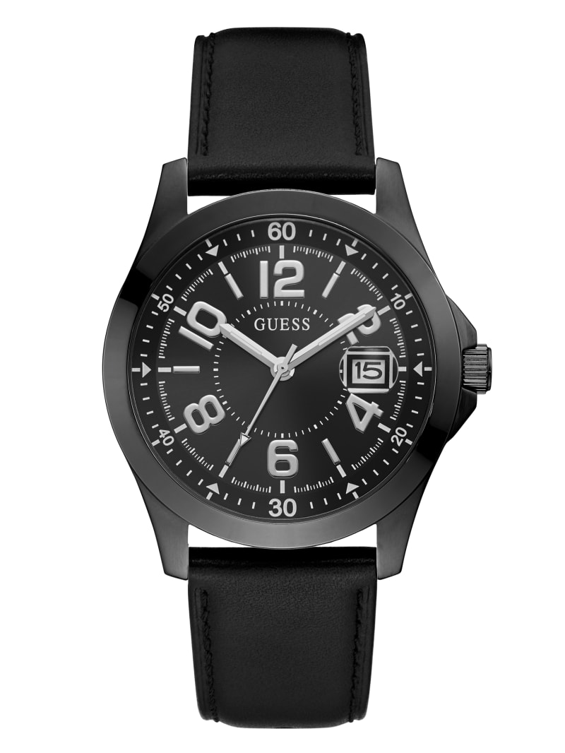 Black Leather Strap Analog Watch