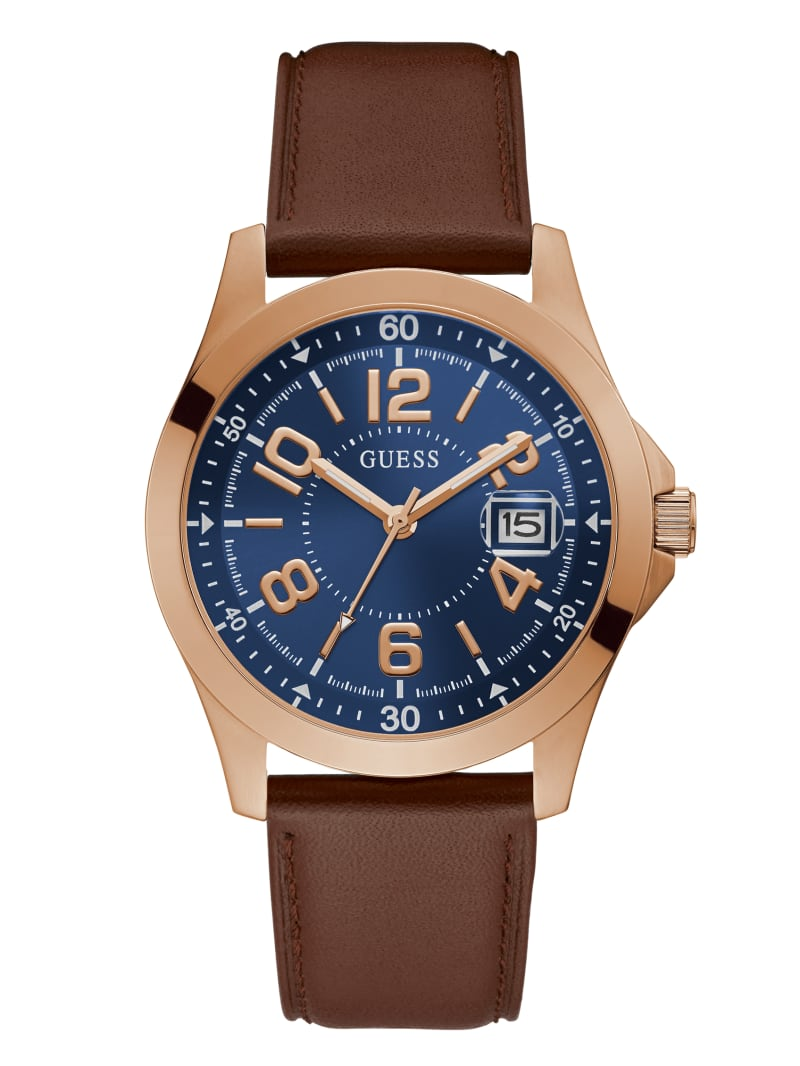 Rose Gold-Tone And Blue Analog Watch