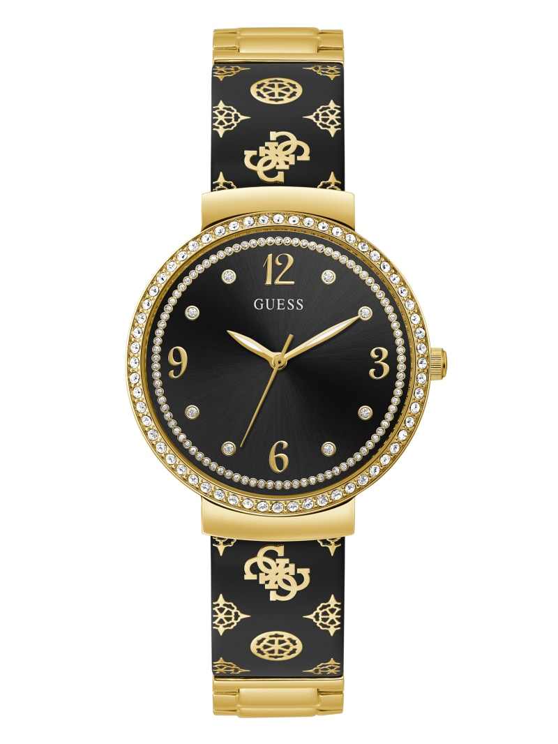Black and Gold-Tone Crystal Analog Watch