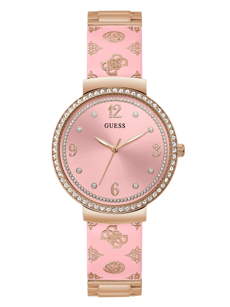 Pink and Rose Gold-Tone Crystal Analog Watch