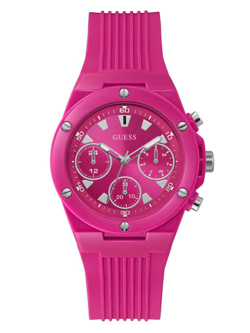 Pink Silicone Chronograph Watch
