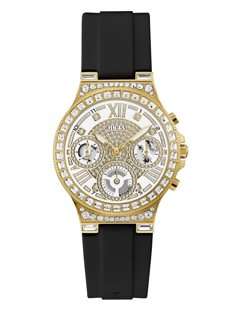 Gold-Tone Rhinestone Multifunction Watch