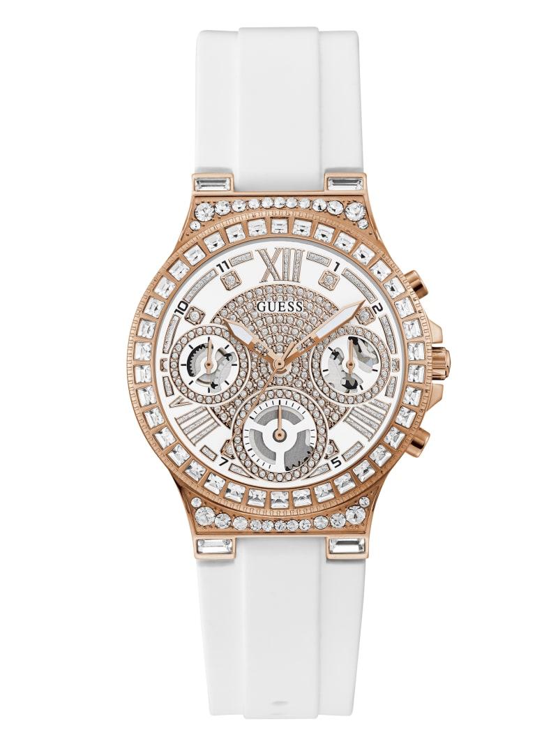 Rose Gold-Tone Rhinestone Multifunction Watch