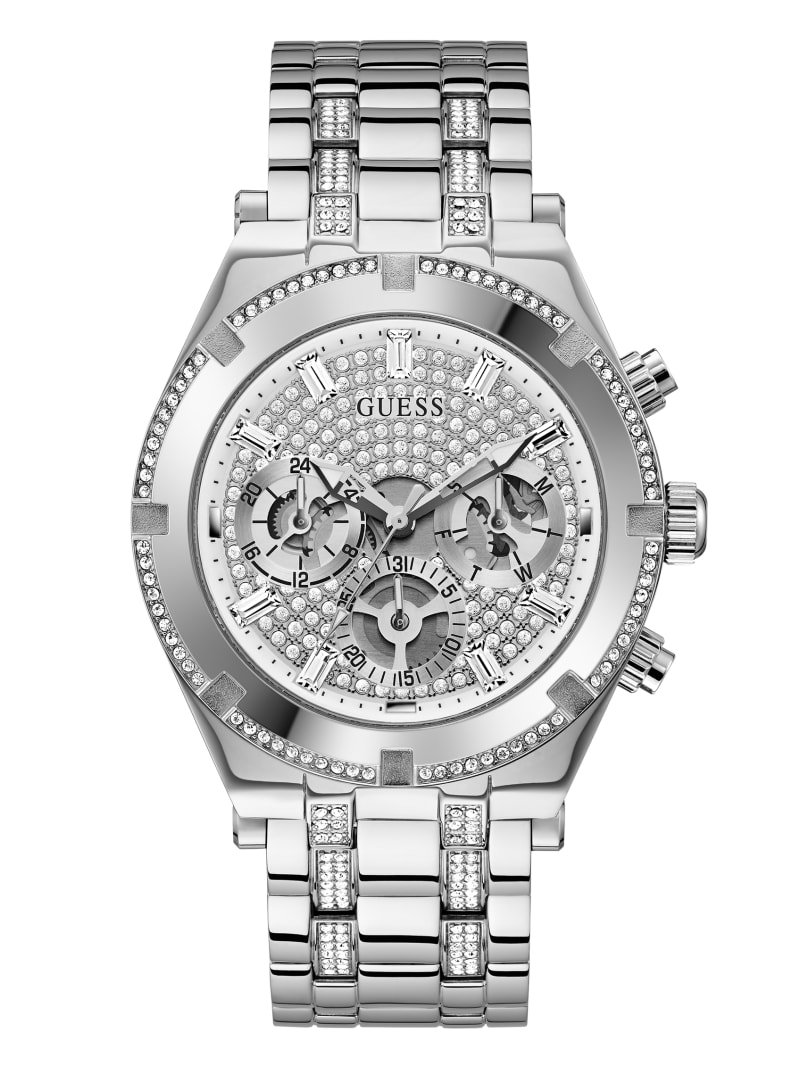 Silver-Tone Rhinestone Multifunction Watch