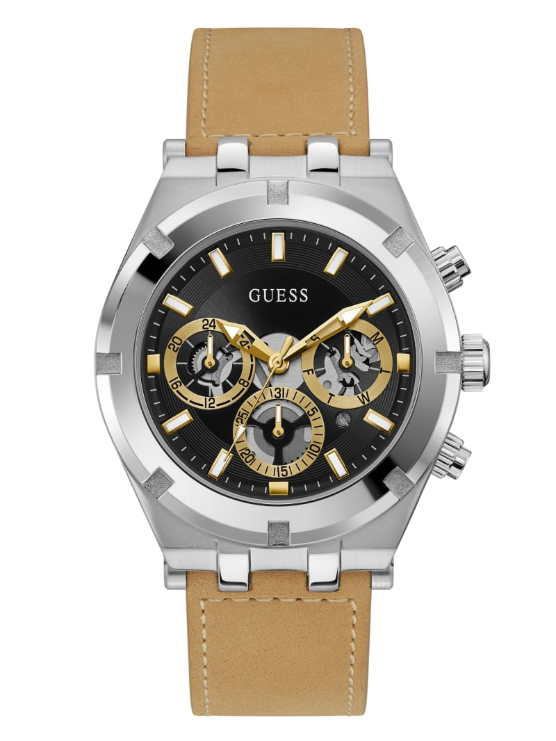 Multi-Tone and Leather Multifunction Watch