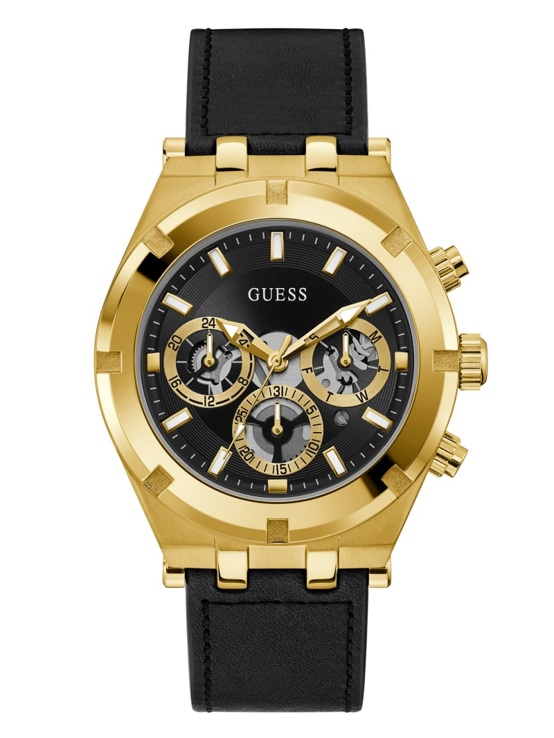 Gold-Tone and Leather Multifunction Watch
