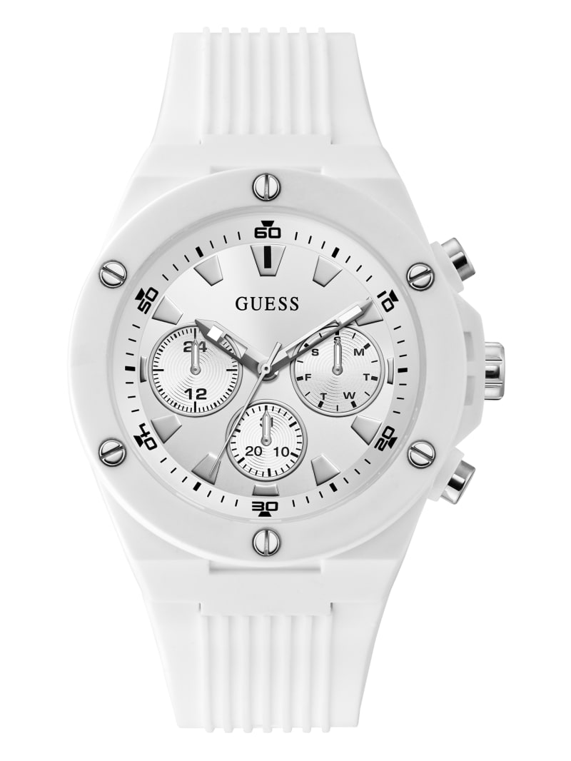 Silver-Tone and White Silicone Multifunction Watch