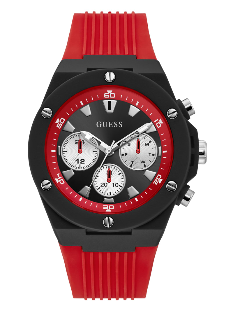 Black and Red Silicone Multifunction Watch