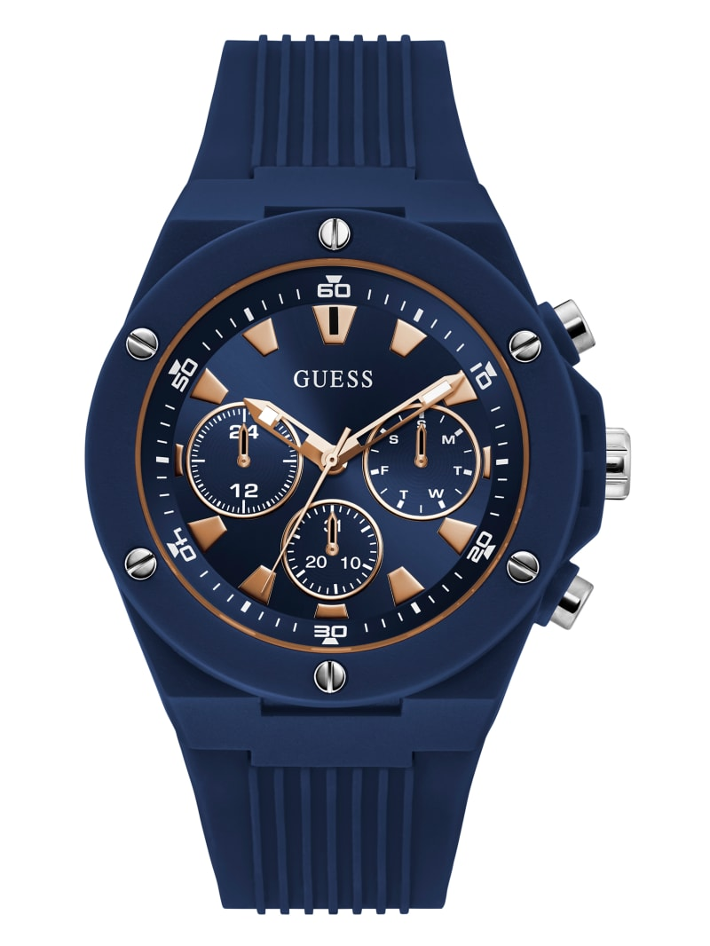 Rose Gold-Tone and Navy Silicone Multifunction Watch
