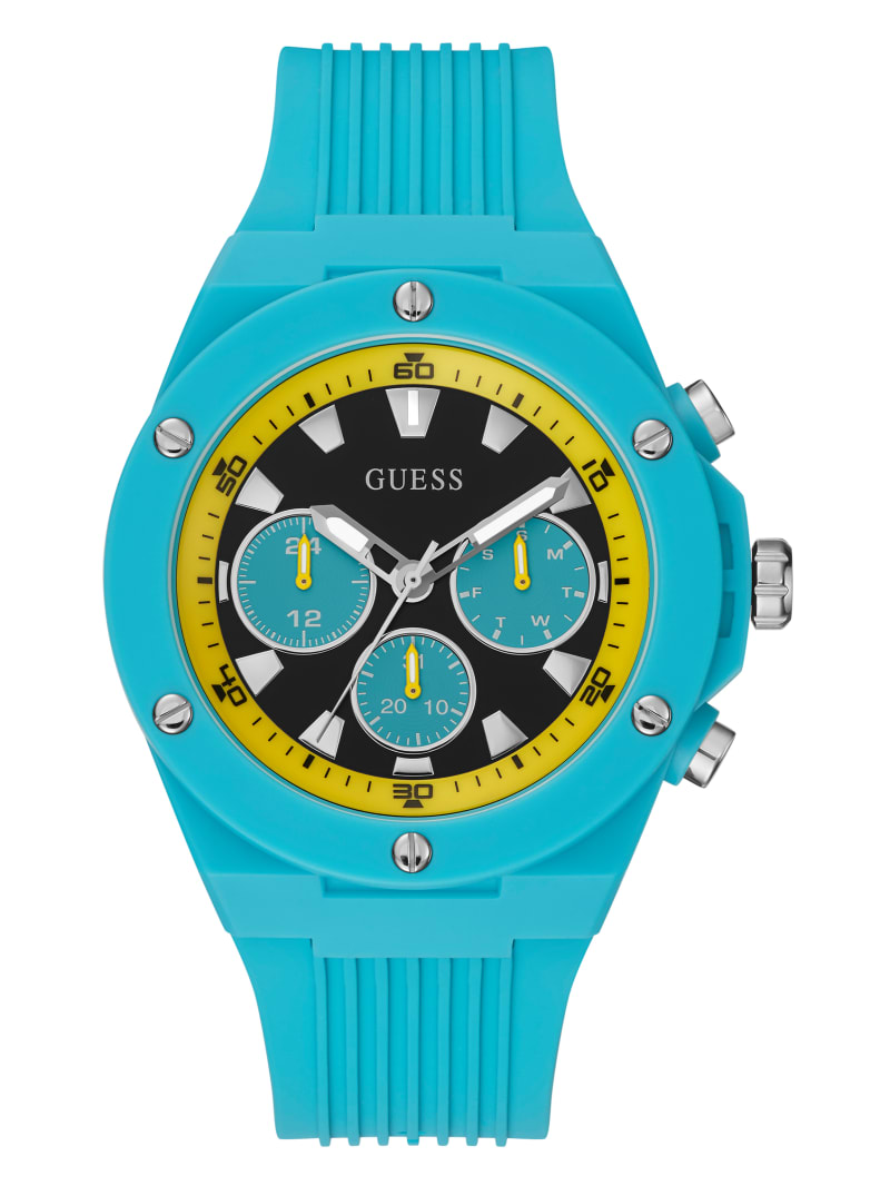 Yellow and Turquoise Silicone Multifunction Watch