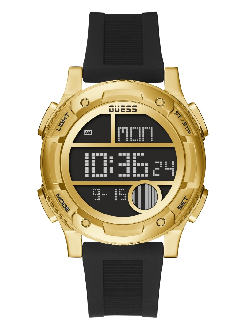 Gold-Tone and Black Silicone Digital Watch