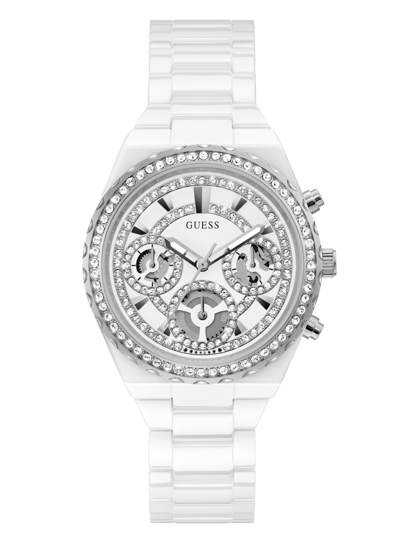 Silver-Tone and White Ceramic Multifunction Watch