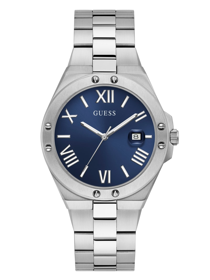 Perspective Silver-Tone and Blue Analog Watch