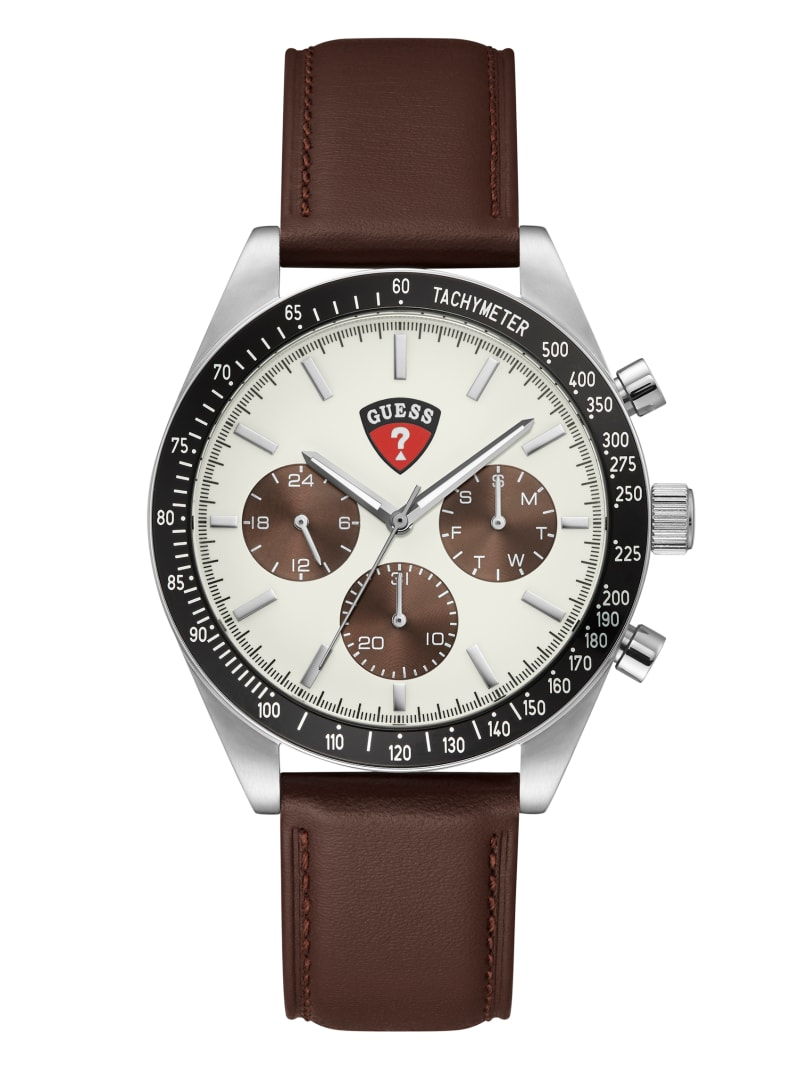 Enterprise Silver-Tone and Brown Multifunction Watch