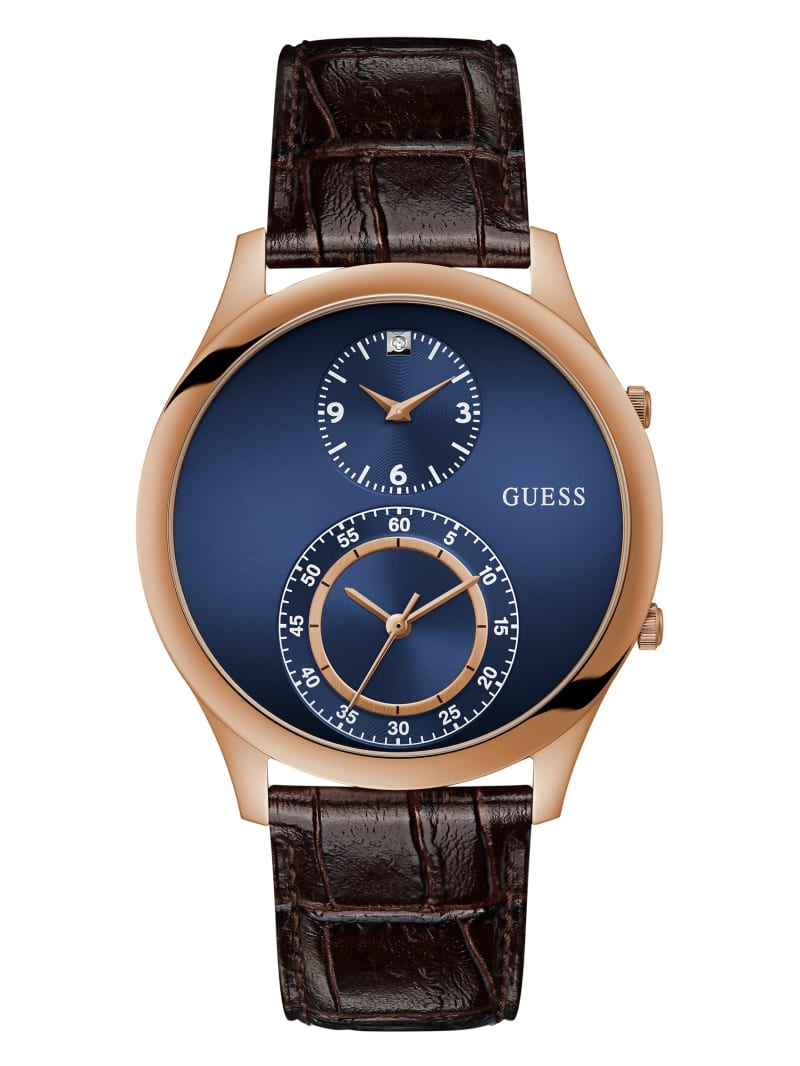 Dos Rose Gold-Tone and Blue Dual Function Watch