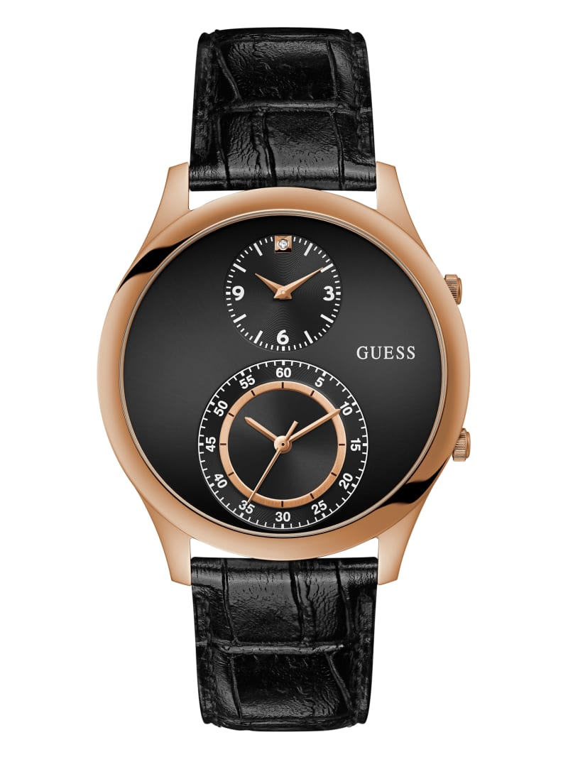 Dos Rose Gold-Tone and Black Multifunction Watch