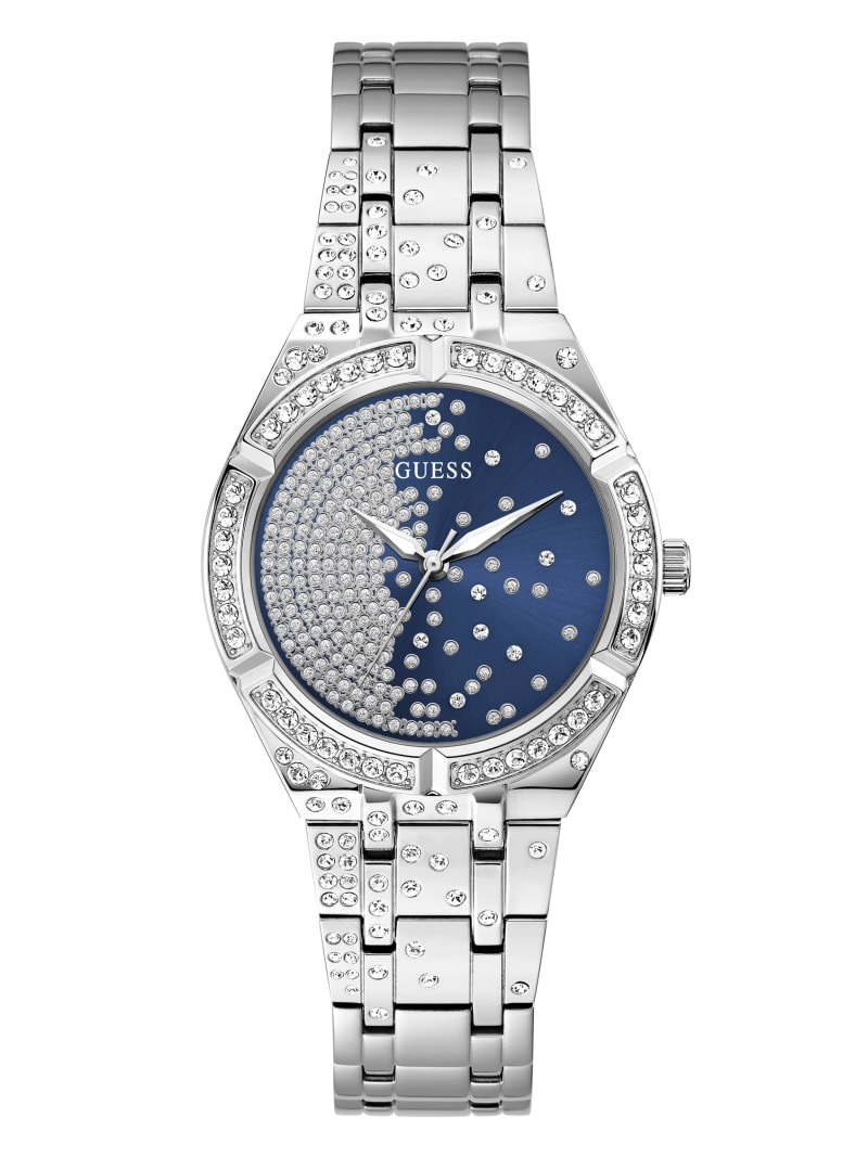 Silver-Tone and Blue Analog Watch