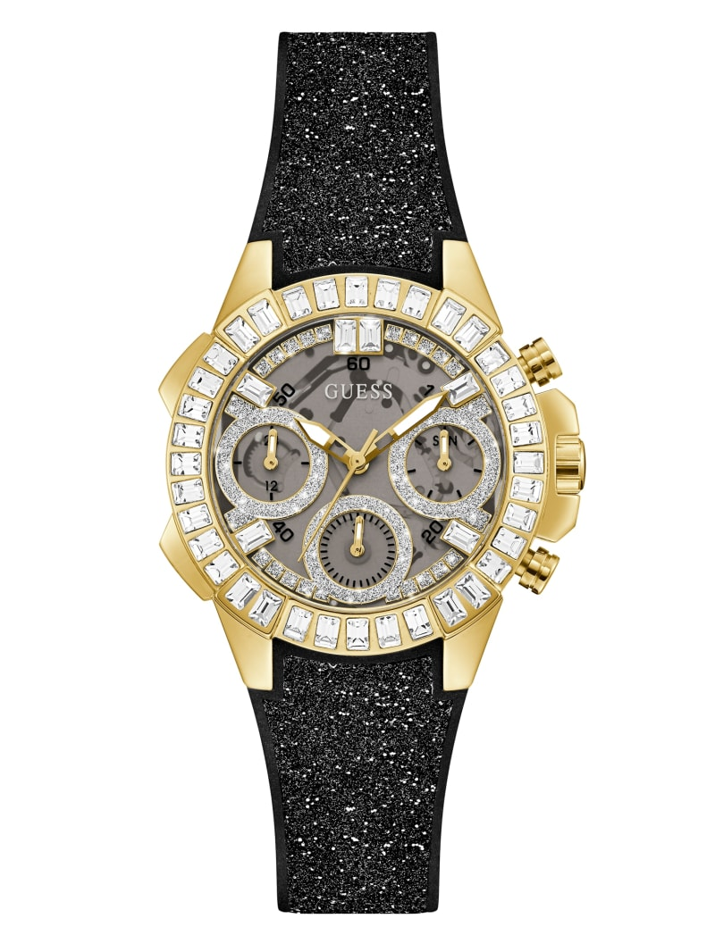 Gold-Tone and Black Shimmer Analog Watch
