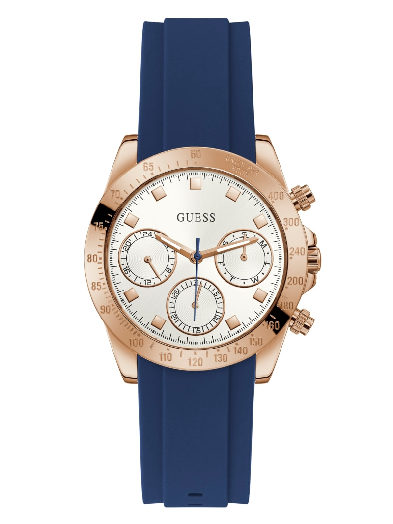 Rose Gold-Tone and Blue Chronographic Watch
