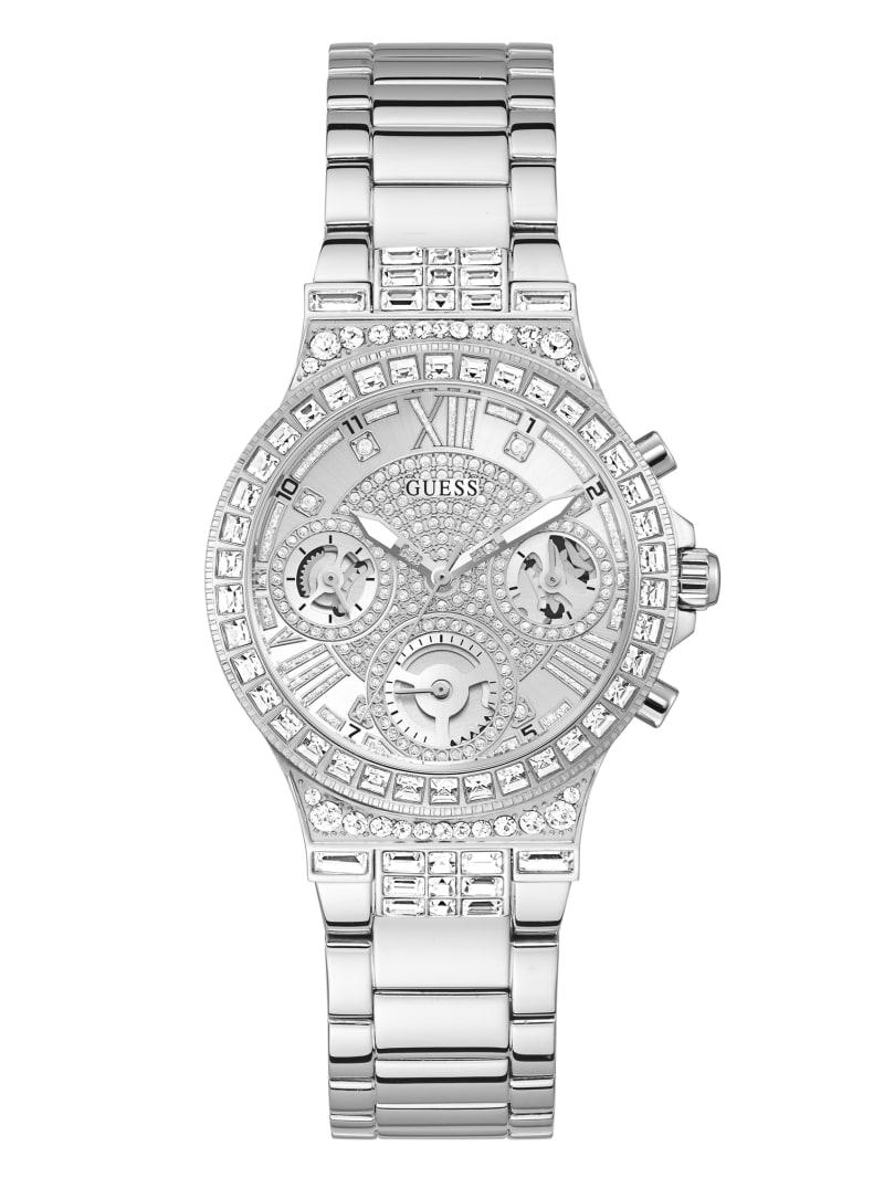 Silver-Tone and Rhinestone Multifunction Watch