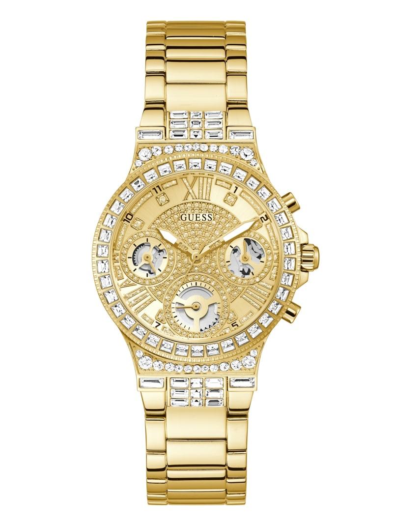 Gold-Tone and Rhinestone Multifunction Watch