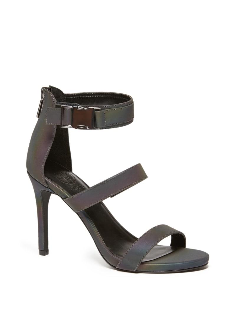 Iridescent Buckle Strap Heels