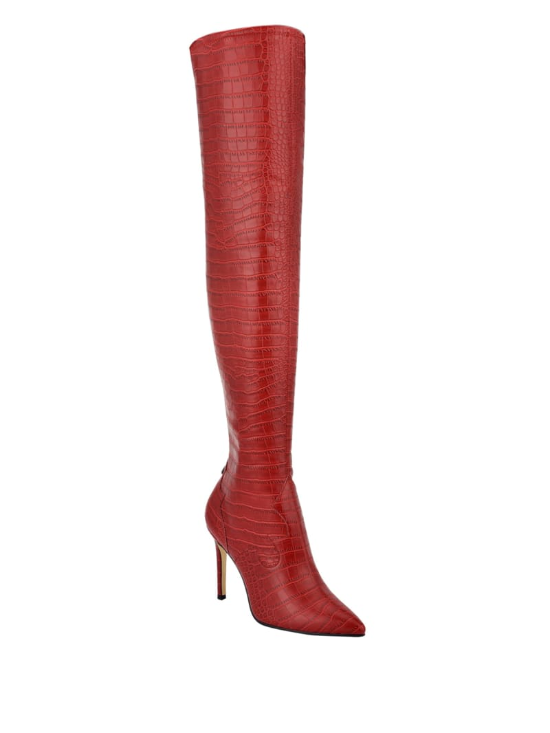 Baylie Croc-Embossed Over-The-Knee Stiletto Boots