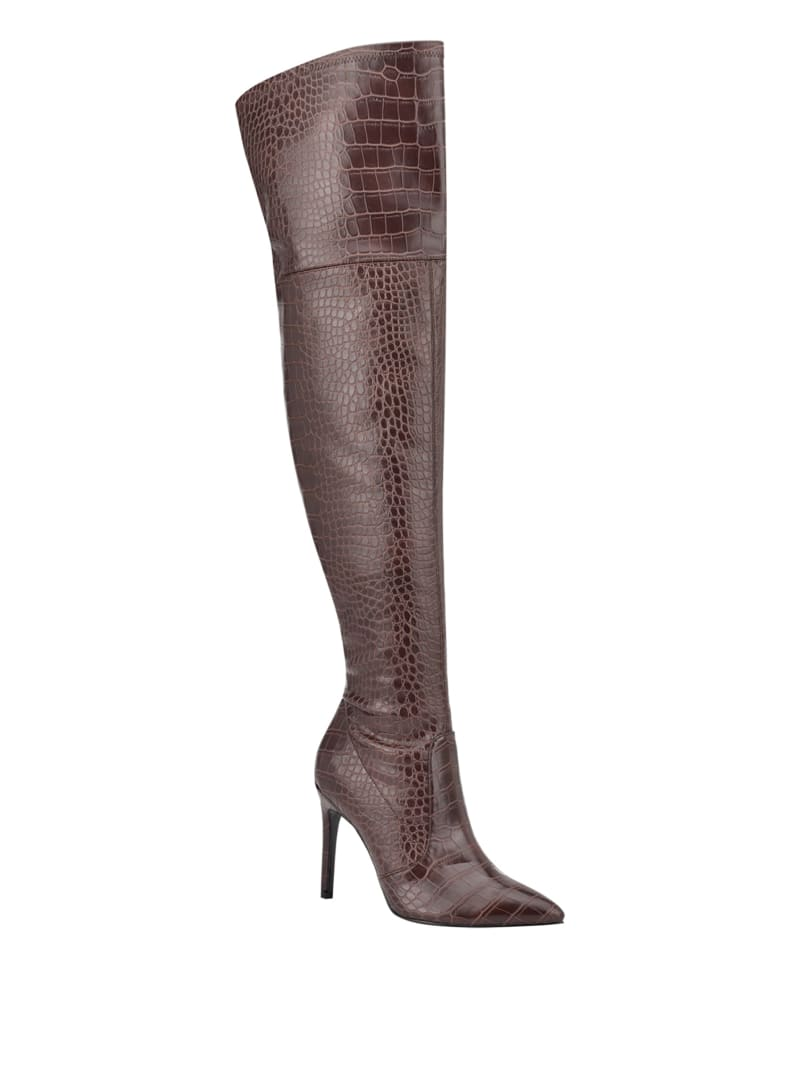 Bonis Crocodile Stiletto Over-The-Knee Boots