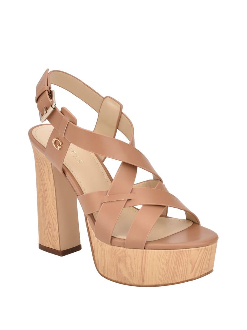 Jolley Strappy Blonde Wooden Heels