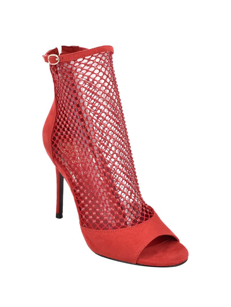 Stone-Embellished Mesh Heels