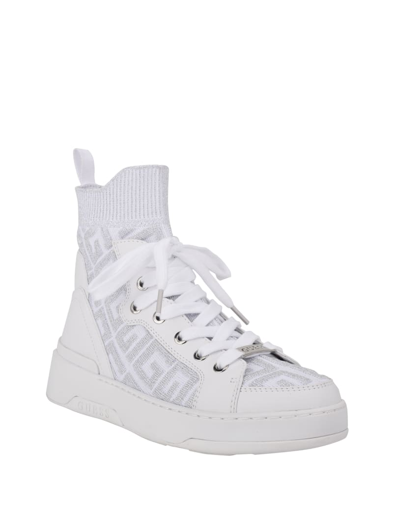 Manney Knit Logo High-Top Sneakers
