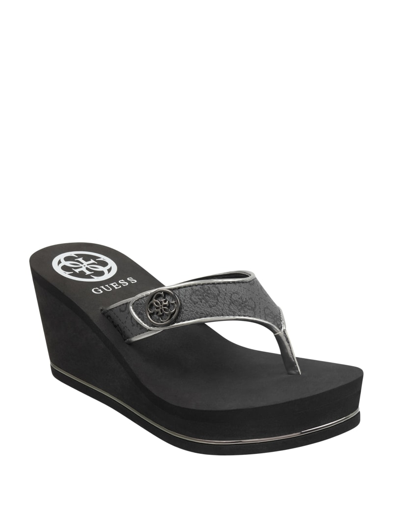Sarally Wedge Logo Flip Flops