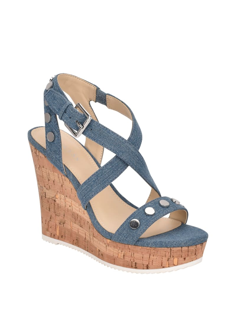Tazio Denim Studded Wedges