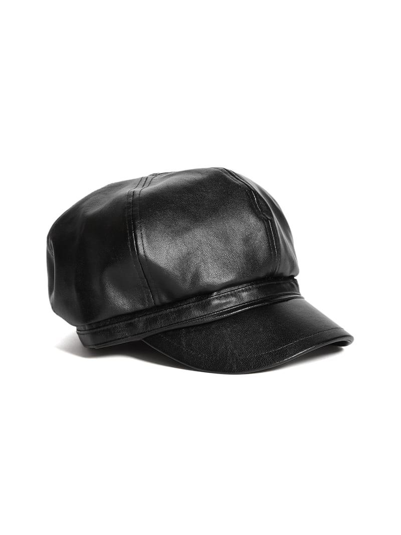 Faux-Leather Cabbie Hat
