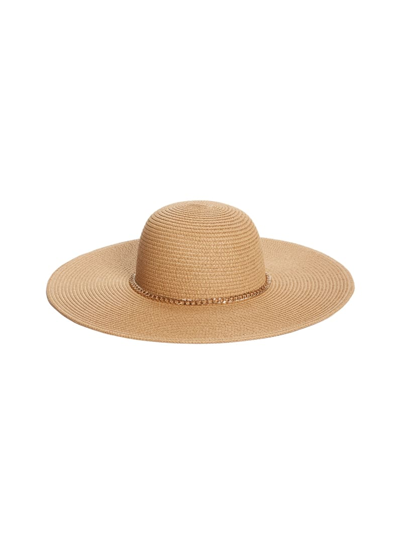 Floppy Straw Hat with Chain