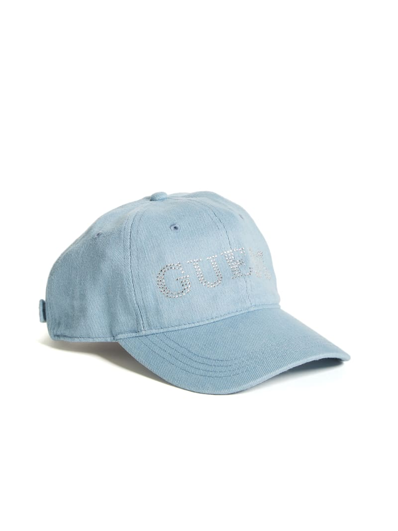 Rhinestone Logo Denim Baseball Hat
