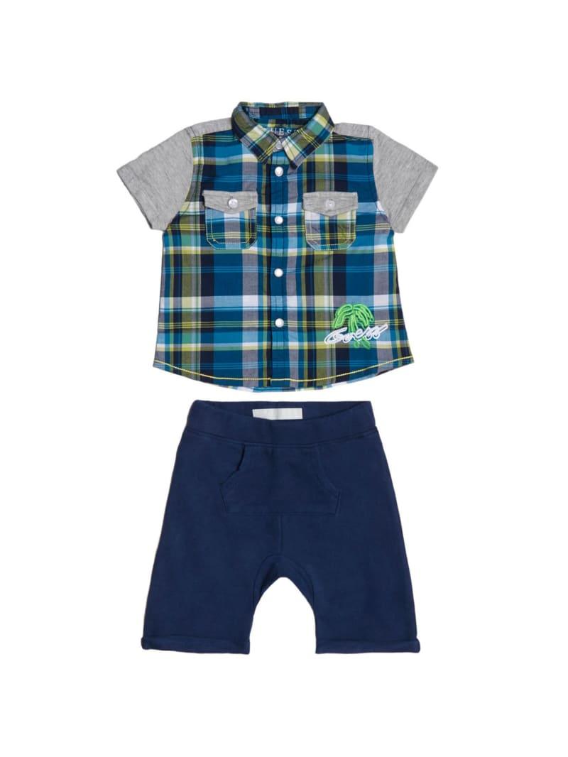 Plaid Shirt and Knit Shorts Set (0-24M)