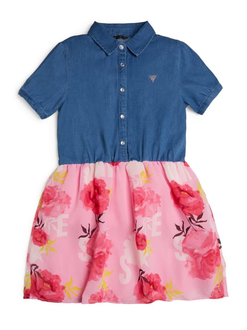 Chambray and Floral Chiffon Dress (7-14)