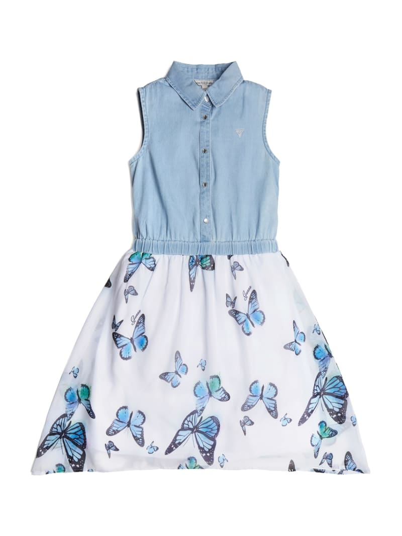 Mixed Fabric Floral Dress (7-14)