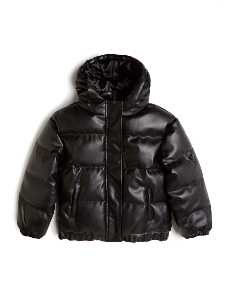 Faux-Leather Puffer Jacket  (7-14)
