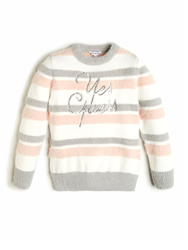 Sequined Logo Fuzzy Sweater (7-14)