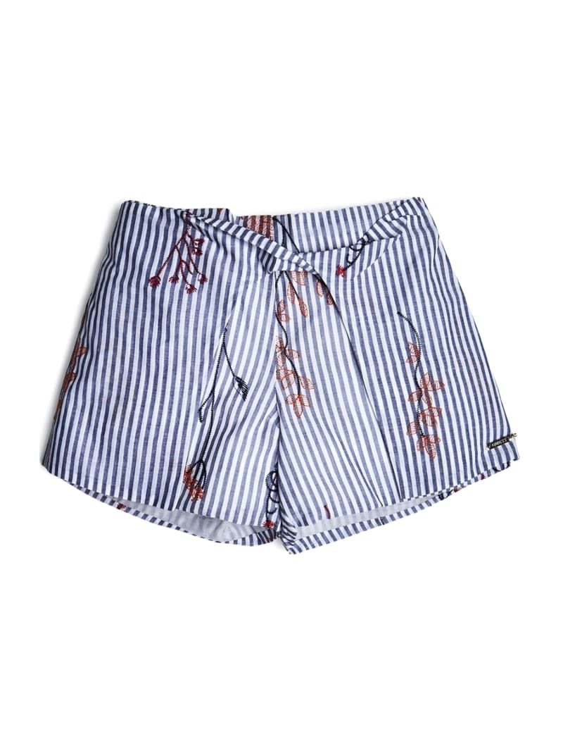 Embroidered Stripe Twist-Front Shorts (7-14)
